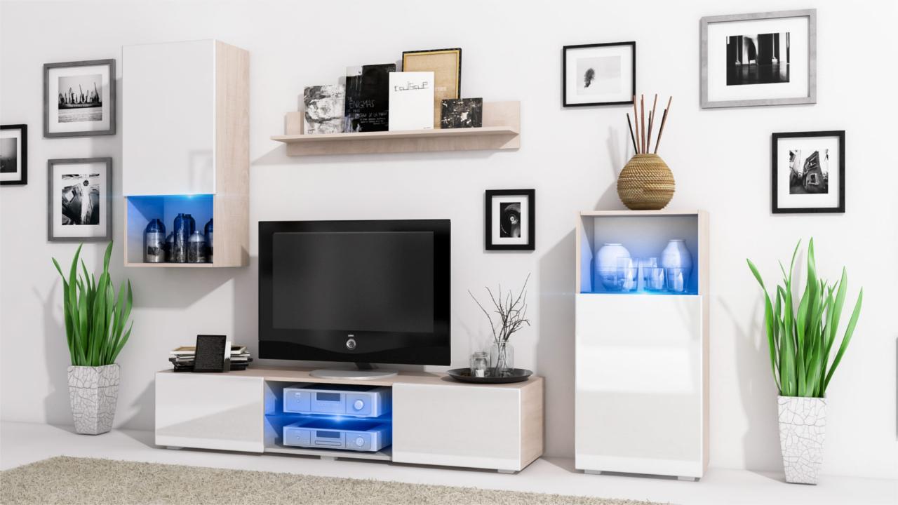 Wall Unit LOFT Sonoma / White Gloss - MEBLINE-FURNITURE.CO.UK