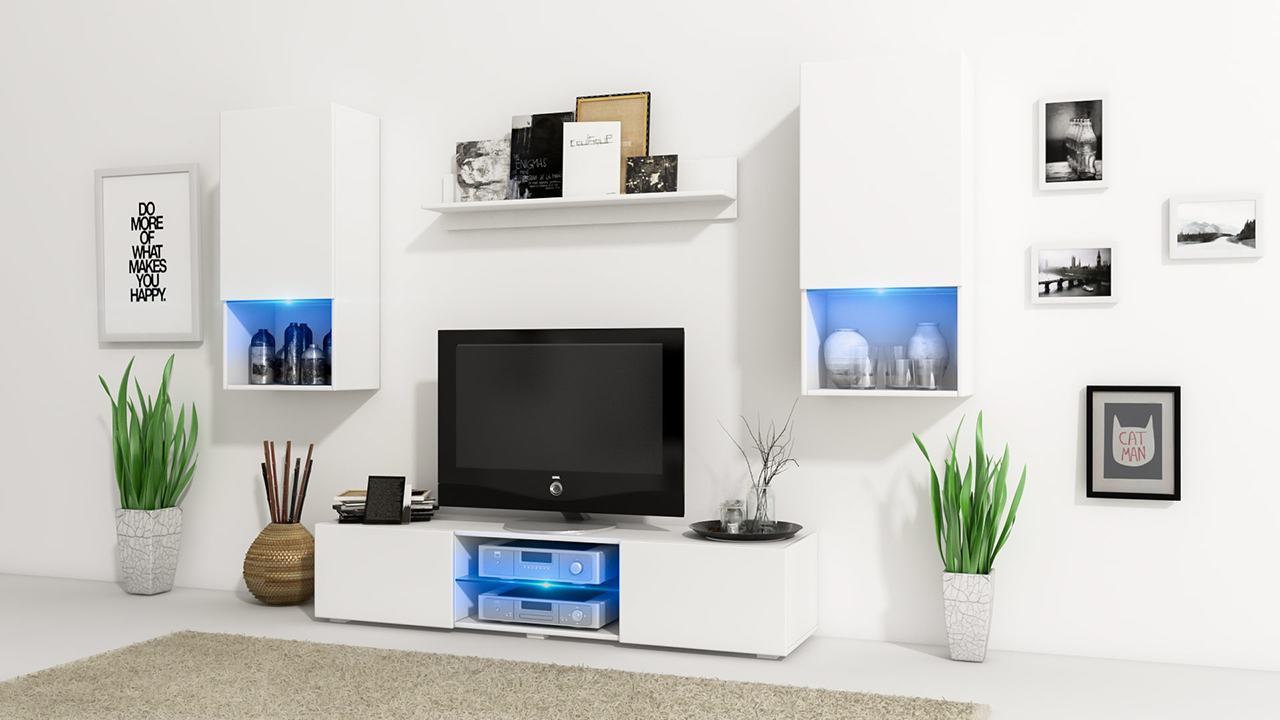 White Gloss Living Room Furniture Uk Wall Unit Vero White White Gloss Mebline Furniturecouk