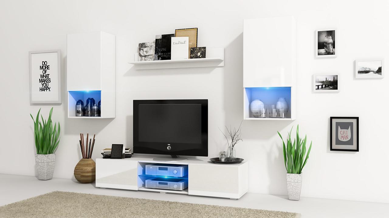Wall Unit VERO White / Black Gloss - MEBLINE-FURNITURE.CO.UK