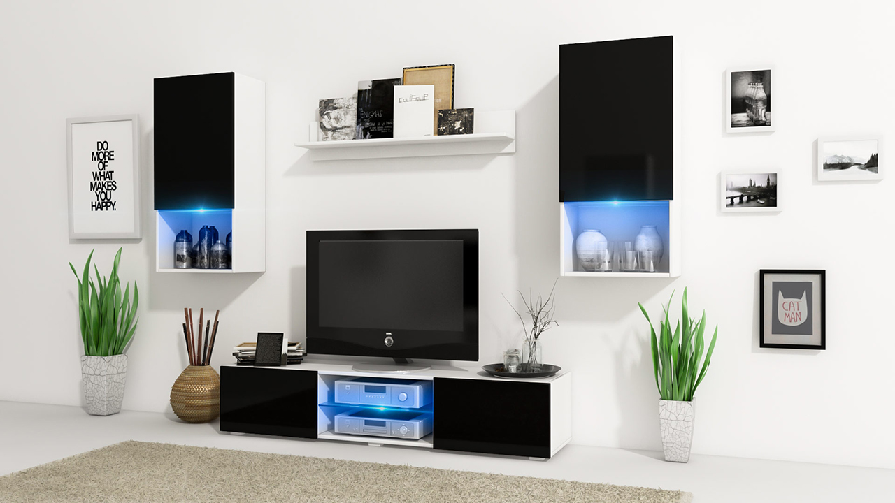 Wall Unit VERO White / Black Gloss - MEBLINE-FURNITURE.CO.UK